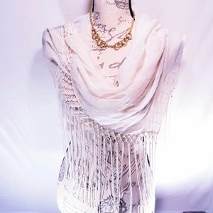 Accessories - Oversized Sheer Long Tasseled Wrap/Scarf